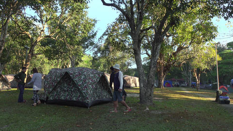 People set up the tent at campsite Footage