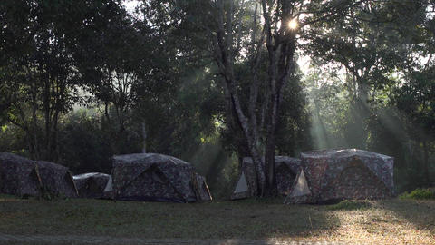 Camping site at sunrise. Full Hd footage made at sunrise Footage