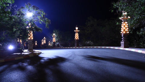 Temple at Night Footage