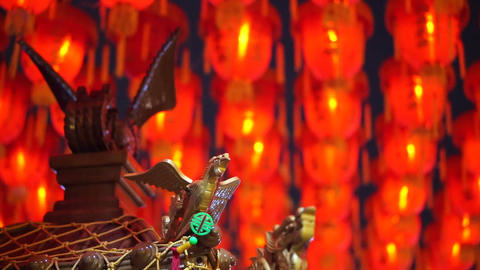 HD video of Thousand of Chinese red lanterns. Illuminate lamps to celebrate Footage