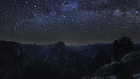 Yosemite National Park Moonset Milky Way Night Sky Timelapse stock footage