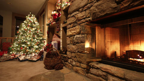 Christmas living room time lapse pan Footage