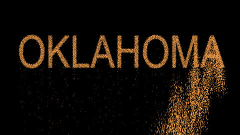 State Name OKLAHOMA appears from the sand, then crumbles. Alpha channel Animation