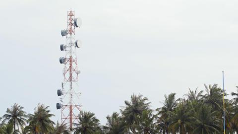 Microwave Repeater Tower on Maafushi Island. Maldives Footage