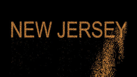 State Name NEW JERSEY appears from the sand, then crumbles. Alpha channel Animation