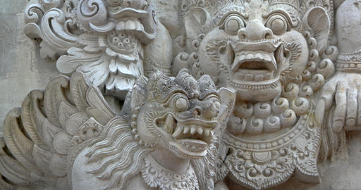 Ancient Sculptures of Mythical Balinese Monsters Live Action
