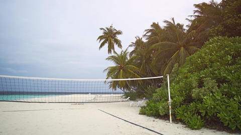 Volleyball Net and Palms in a Breeze in the Maldives Footage