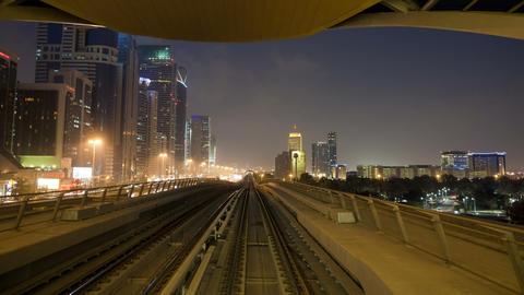 Pov time lapse journey on the modern driverless dubai elevated rail metro Footage