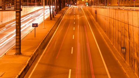 Speeding night car lights Footage