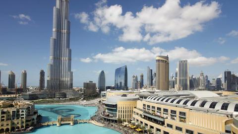 The burj khalifa dubai a futuristic modern design structure the burj khalif Footage