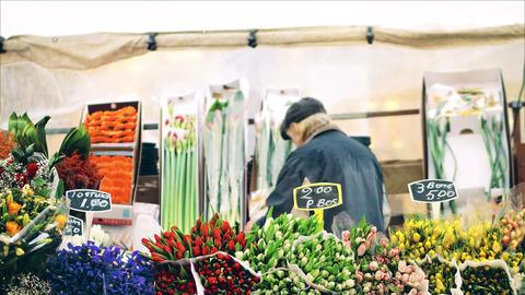 Unknown flower seller in Amsterdam, Netherlands Footage