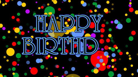 Happy birthday banner with confetti background. Animation for birthday party, 4k Animation