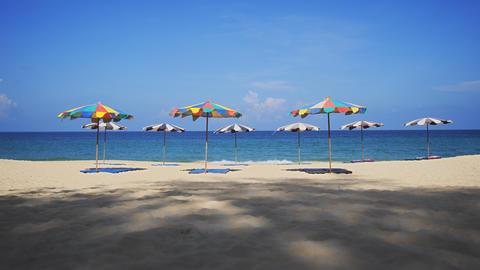 Colorful Beach Umbrellas on a Sandy Beach Paradise in Thailand Footage