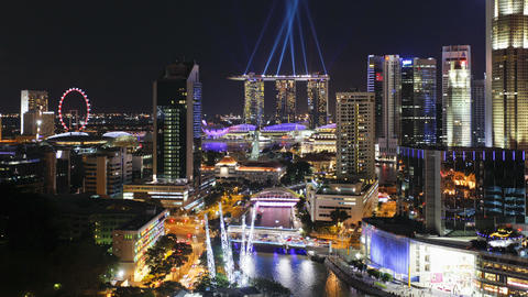 Elevated view over the entertainment district of clarke quay the singapore Footage