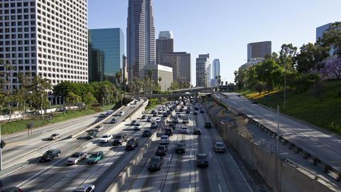 Los angeles highway buildings timelapse Footage