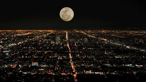 Moon rising over la timelapse Footage