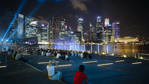 Marina bay city light display singapore river and city skyline south east Footage
