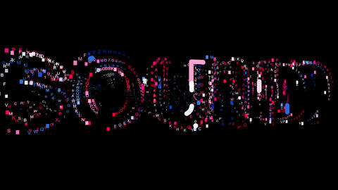 Letters are collected in text SOUND, then scattered into strips. Bright colors Animation