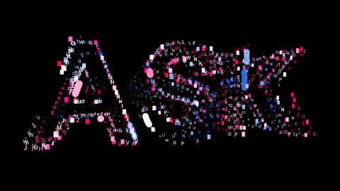 Letters are collected in text ASK, then scattered into strips. Bright colors Animation