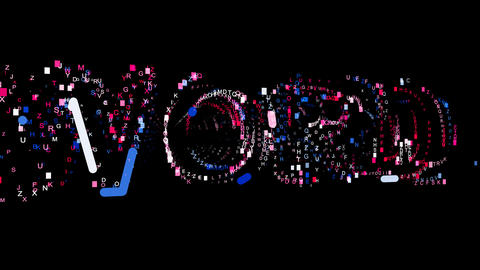 Letters are collected in text WORD, then scattered into strips. Bright colors Animation