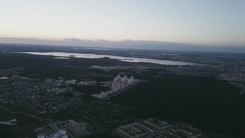 Panorama Russia. Panorama of Ekaterinburg from a bird's-eye view. Sunset. Live Action