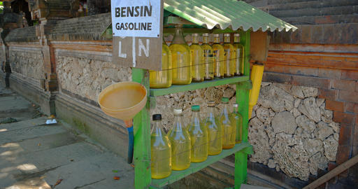 Gasoline for Sale in Glass Bottles. in Bali Indonesia Footage