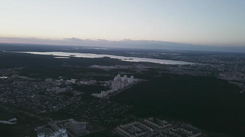 Panorama Russia. Panorama of Ekaterinburg from a bird's-eye view. Sunset. Footage