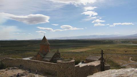Landscape view of Khor Virap Monastery in Armenia Image