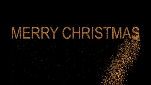congratulation MERRY CHRISTMAS appears from the sand, then crumbles. Alpha Animation