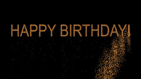 congratulation HAPPY BIRTHDAY! appears from the sand, then crumbles. Alpha Animation