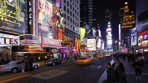 Neon lights of 42nd street times square manhattan new york city new york Live Action
