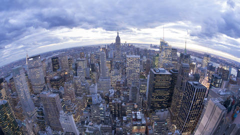 Wide angle view of the manhattan skyline from the empire state building obs Footage
