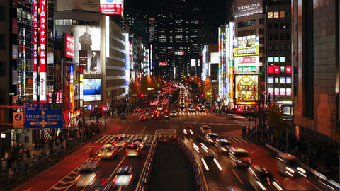 Elevated view along chuo dori the most fashionable shopping street Footage