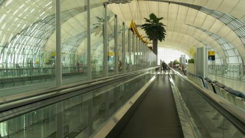 Travelator in the terminal of Bangkok airport Footage