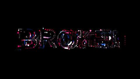 Letters are collected in text BROKEN, then scattered into strips. Bright colors Animation
