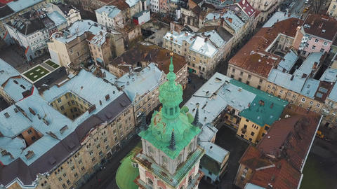 Aerial view of the historical center of Lviv. Shooting with drone Footage