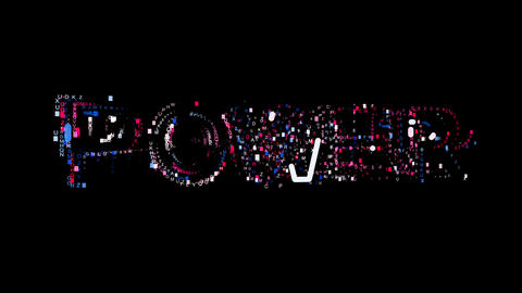 Letters are collected in text POWER, then scattered into strips. Bright colors Animation