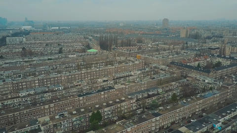 Aerial shot of typical apartment buildings in Amsterdam, Netherlands Footage