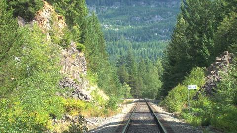 Train tracks through mountains Footage