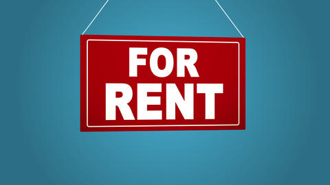 A business sign that says: For rent. Animated board falls and sways. Blue Footage