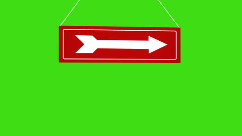 A white arrow sign at red pointing to the right. Animation of sign on ropes Live Action