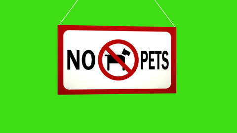 A business sign that says: No pets. Animated board falls and sways Image