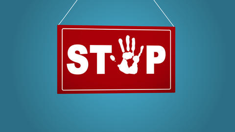 A business sign that says STOP Blue background Archivo