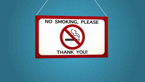 No smoking sign on white background Blue background Live Action