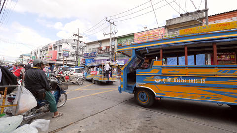 Tuk-tuks at Phuket Town Bus Station. Famous Thai Transport for Tourists and Footage