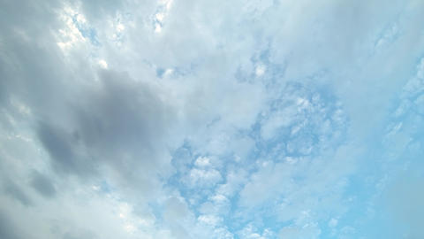 Layers of Puffy Clouds Driting against a Blue Sky Footage