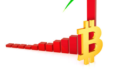 Beautiful 3D red graph of growth bitcoin in 2017, Stock Animation