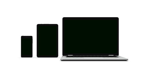 Modern laptop, tablet and smartphone with green screen Image