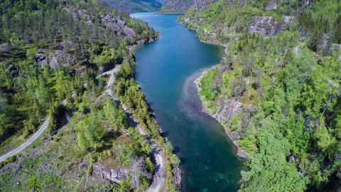 Aerial footage from beautiful nature norway Live Action
