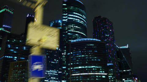 Business building Moscow city at night Archivo